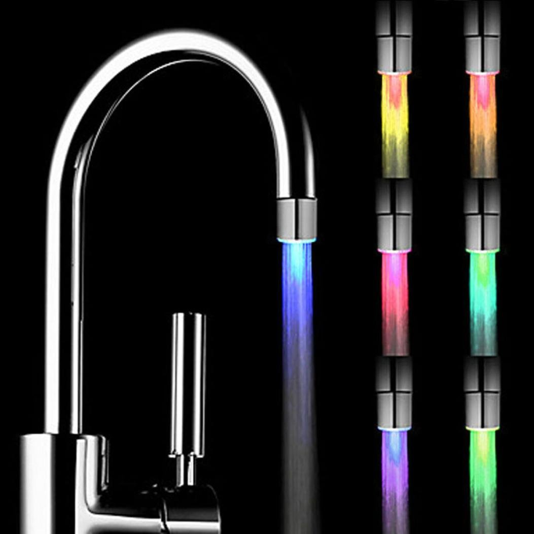 Staron Kitchen Sink LED Light Faucet Romantic 7 Color Change Tap Water Glow Water Stream Shower LED Faucet Taps Bathroom Stream Shower LED Faucet Lights by (A)