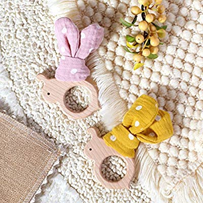Biter teether 2pc Organic Wooden Baby Teether Toy Cute Bee Shape Beech Wood Teething Ring with Round Dot Pattern Cotton Rabbit Ears Decoration DIY Baby Nursing Accessories for Newborn(Pink+Yellow): Toys & Games