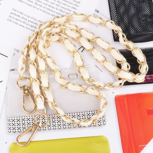 size iiniim With White Metal Leather Gold Accessories Gold Metal Purse Shoulder Strap Chain One body Black Handbag Bag with Replacement Cross faHrfwAq