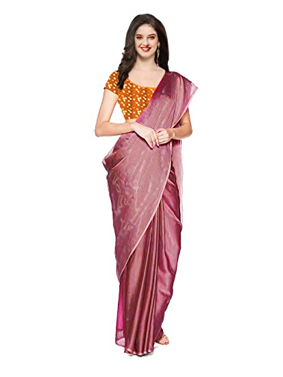 bff563377bdd05 Clickedia Women s Shiny Pure khadi Tissue Saree with Mirror Work 2  different Contrast Blouse pc (