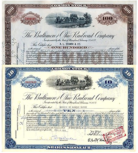 1935 PAIR of LOVELY OLD BALTIMORE & OHIO STOCKS w TOM THUMB TRAIN VIGNETTE! 10 Shares, 100 Shares XF