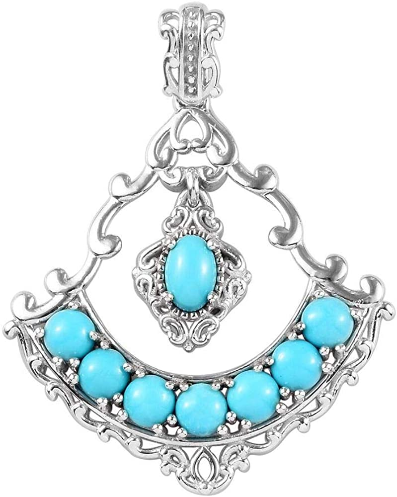 TJC Cluster Sleeping Beauty Turquoise Pendant for Women Platinum Plated 925 Sterling Silver 2.4 Ct