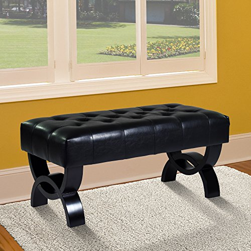 Armen Living LC5012BEBCBL36 Central Ottoman in Black Bonded Leather and Black Wood Finish
