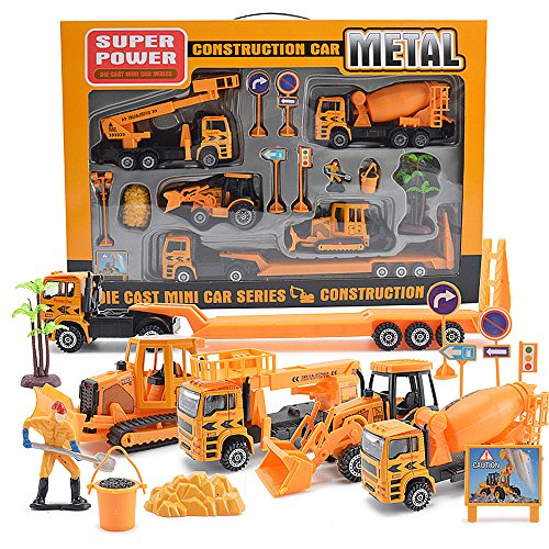 Die Cast Metal Construction Truck Playset with Forklift, Bulldozer, Road Roller, Excavator, Dump Truck, Tractor Cars Toys Set Assorted Construction for Boys (15 pcs construction cars) -