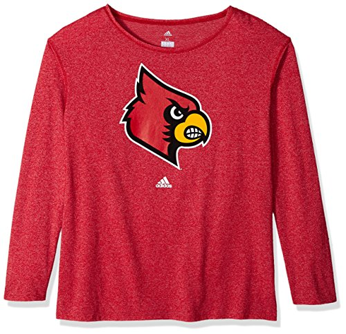 NCAA Louisville Cardinals Womens Her Full Color Primary Logo L/s Crew Teeher Full Color Primary Logo L/s Crew Tee, Power Red, X-Large