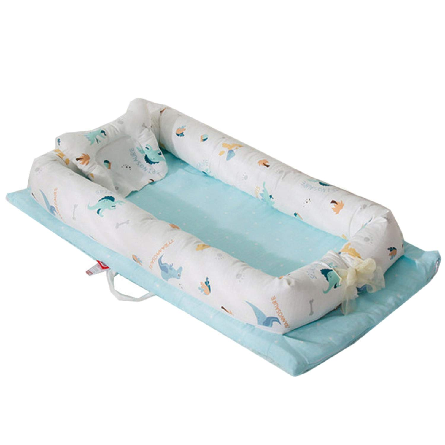 Abreeze Baby Bassinet for Bed -Blue Dinosaur Baby Lounger - Breathable & Hypoallergenic Co-Sleeping Baby Bed - 100% Cotton Portable Crib for Bedroom/Travel 0-24 Months by Abreeze