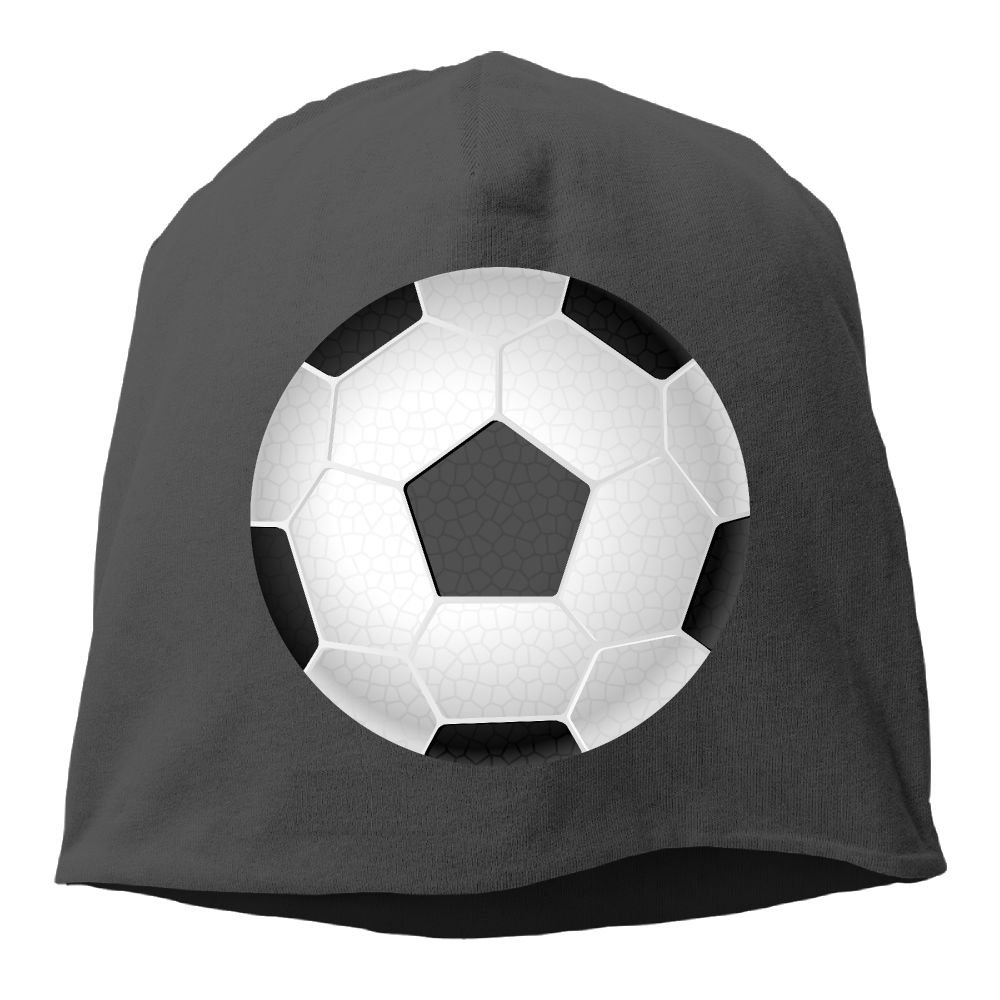 Fashion Solid Color Soccer Ball Pattern Turtleneck Cap for Unisex White One Size