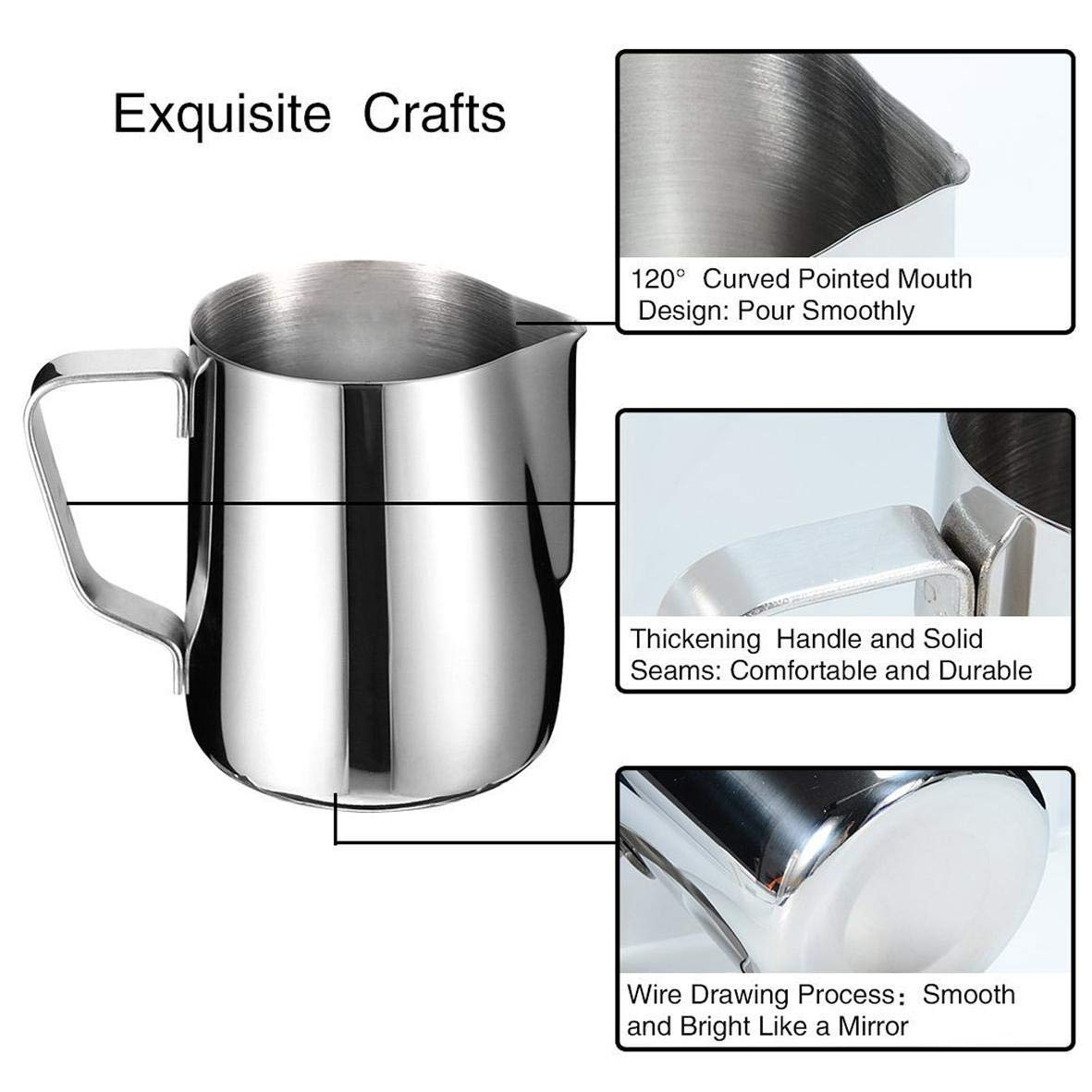 Latte Art Juices Cream Access-FRH Milk Frothing Pitcher 20 oz 600 ml Stainless Steel Steamer Cup Foam Making for Espresso Milk Frothers