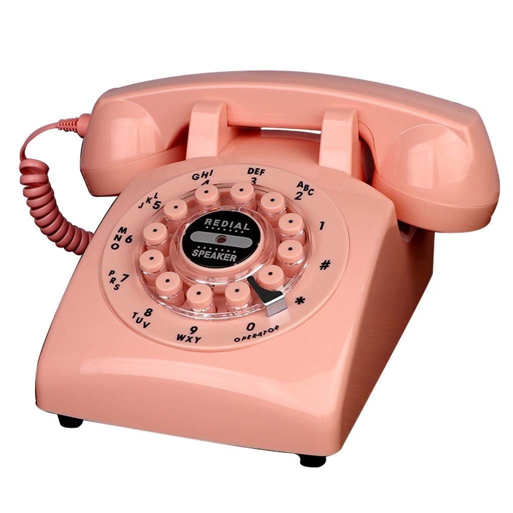 ホーム固定電話、固定式電話専用のレトロなスタイルロータリーボタン番号が付いている古典的な自宅の電話、さまざまな色やスタイルで利用可能 (三 : Off white-Button version) B07JB26V5J Pink-Button version