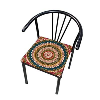 "HNTGHX Outdoor/Indoor Chair Cushion Ethnic Flower Mandala Square Memory Foam Seat Pads Cushion for Patio Dining, 16"" x 16"": Home & Kitchen"