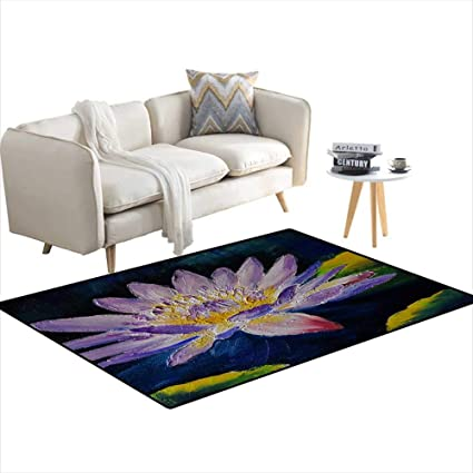 Amazoncom Girls Bedroom Rug Oil Painting Purple Lotus Flower
