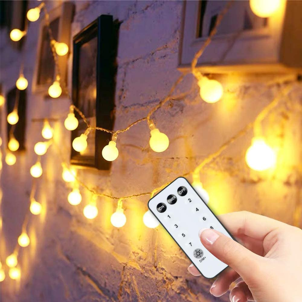 Globe String Lights 59FT 100 Led with Remote Timer , Indoor String Lights for Christmas Bedroom Wall Patio Party Home Wedding, Extendable Outdoor Garden Yard Decorative