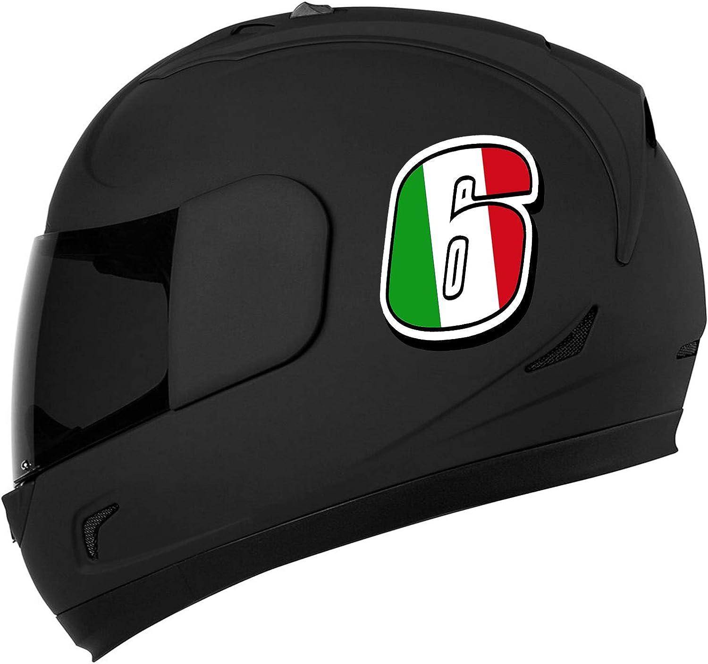 Biomar Labs/® Adesivo Sticker Numero Racing 6 Gara Bandiera Italia Italy Italian Italien Auto Moto Cross Rally Sport Tuning N 316