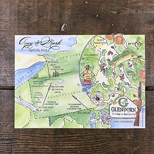 Watercolor Wedding Maps, Wedding Map Art, Hand Painted - Invitations Hand Wedding Painted