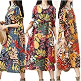 Plus Size Print Dress for Women Long Sleeve Cotton and Linen Loose Flower Leaf Grey XXL