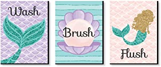product image for Big Dot of Happiness Let's Be Mermaids - Kids Bathroom Rules Wall Art - 7.5 x 10 inches - Set of 3 Signs - Wash, Brush, Flush