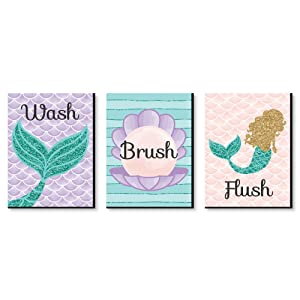 "Let's Be Mermaids - Kids Bathroom Rules Wall Art - 7.5"" x 10"" - Set of 3 Signs - Wash, Brush, Flush"