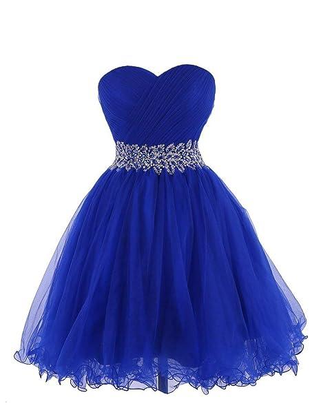 MerryGirl Vestido de Fiesta de Tul Vestido de Cóctel de Novia de Las Mujeres (Azul