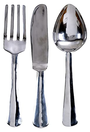 23 Quot Oversized Aluminum Silver Fork Knife Spoon Wall Decor Set