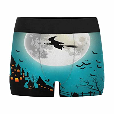 InterestPrint Men's All-Over Print Boxer Briefs Halloween with Flying Witch on The Full Moon (XS-3XL)