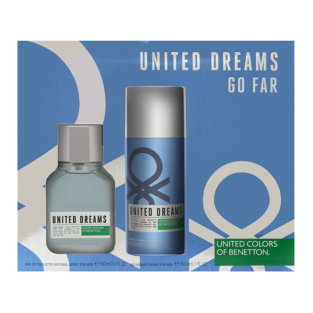 Benetton United Dreams Man Go Far Set de Agua de Colonia y Desodorante - 250 ml: Amazon.es: Belleza