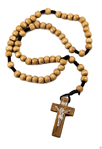 Única católica orar a Jerusalén de Jesús crucifijo Rosario de perlas de oliva madera 12,