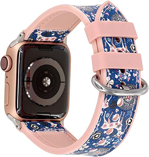 Falandi Compatible for Apple Watch Bands 40mm Series 4, Sports Pattern Leather with Rose Gold Pink Silicone Replacement Straps Sweatproof iwatch Series 3 2 1 Grils Women Blue Sika, 40 38mm