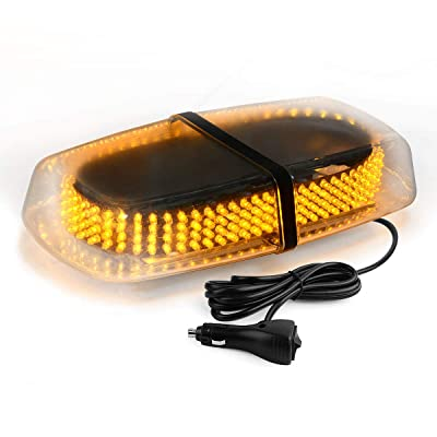 YITAMOTOR 240 LED Strobe Warning Light Amber High Intensity Emergency Flashing Lamps/Hazard Warning Mini Lighting Bar/Beacon/with Magnetic Base Compatible with Vehicle Roof Safety (Amber&Yellow): Automotive