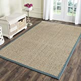 Safavieh Natural Fiber Collection NF114M Basketweave Natural and  Light Blue Seagrass Area Rug (9' x 12')