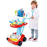 USA in Stock Doctor Cart for Toddlers Medical Kit Pretend Playset Doctors Set Double-Decker Trolley with Stethoscope…