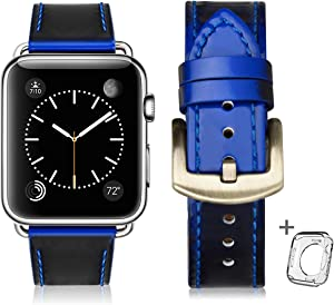 Leather Bands Compatible with Apple Watch Band 38mm 40mm 42mm 44mm, Top Grain Leather Smart Watch Strap Compatible for Men Women iWatch Series6/5/4/3/2/1 (Gemstone blue + Gold Buckle, 38mm 40mm)