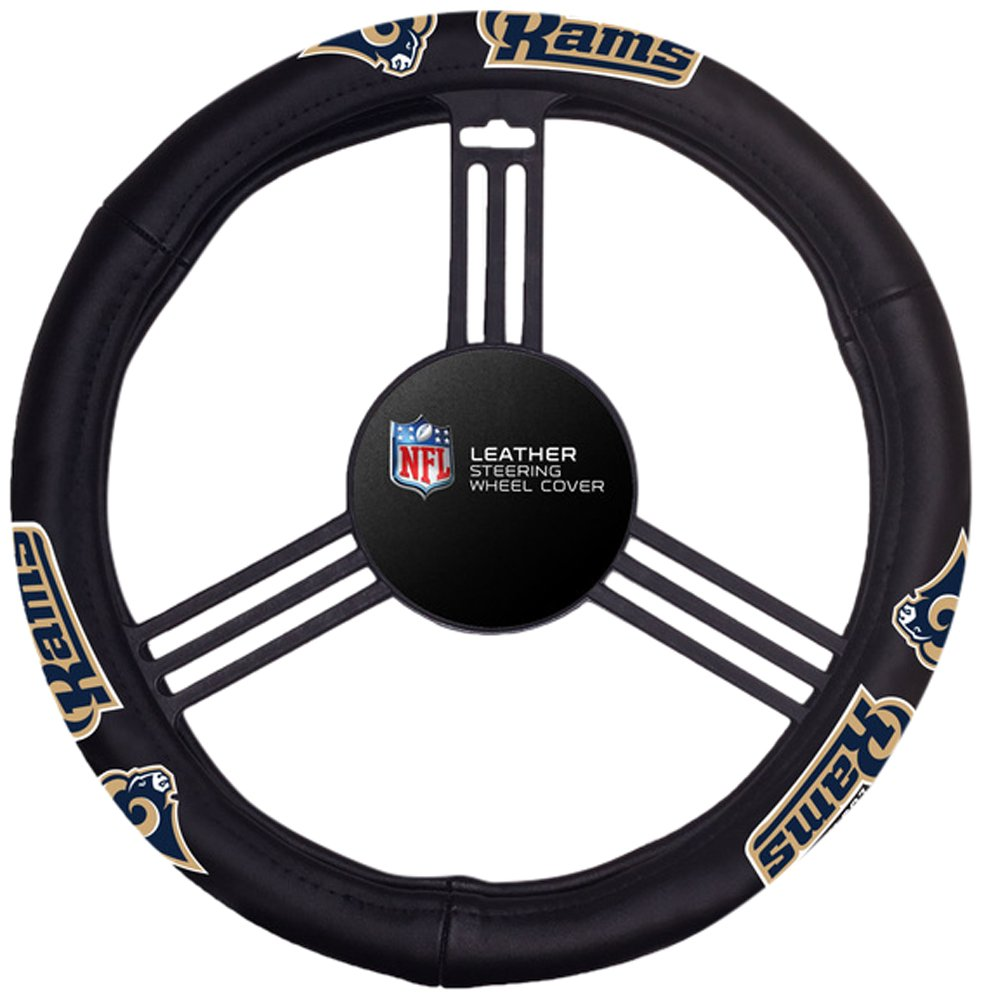 Fremont Die NFL Los Angeles Rams No Leather Steering Wheel Coverleather Steering Wheel Cover, Black, One Size by Fremont Die