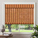"PASSENGER PIGEON Bamboo Roller Shades, Light Filtering Roll Up Blinds with Valance, 37"" W x 84"" L, Orange"