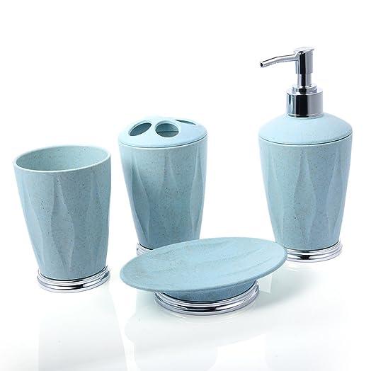 LianLe Bathroom Accessory 4 Set Soap Dish Dispenser Toothbrush Holder Tumbler