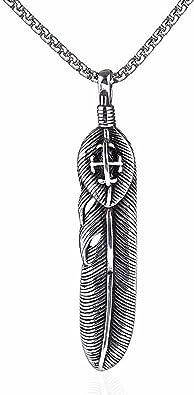 collier homme pendentif plume
