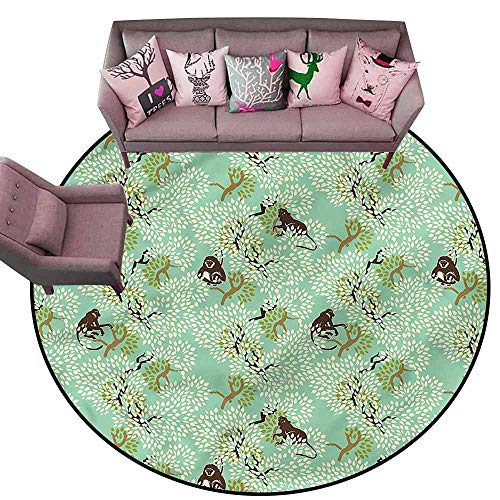 Floor mats for Kids Nature,Jungle Motif with Monkeys Diameter 66