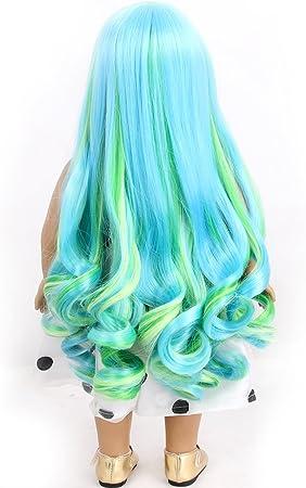 stfantasy American Girl muñeca pelucas Bangs Ombre azul verde ...