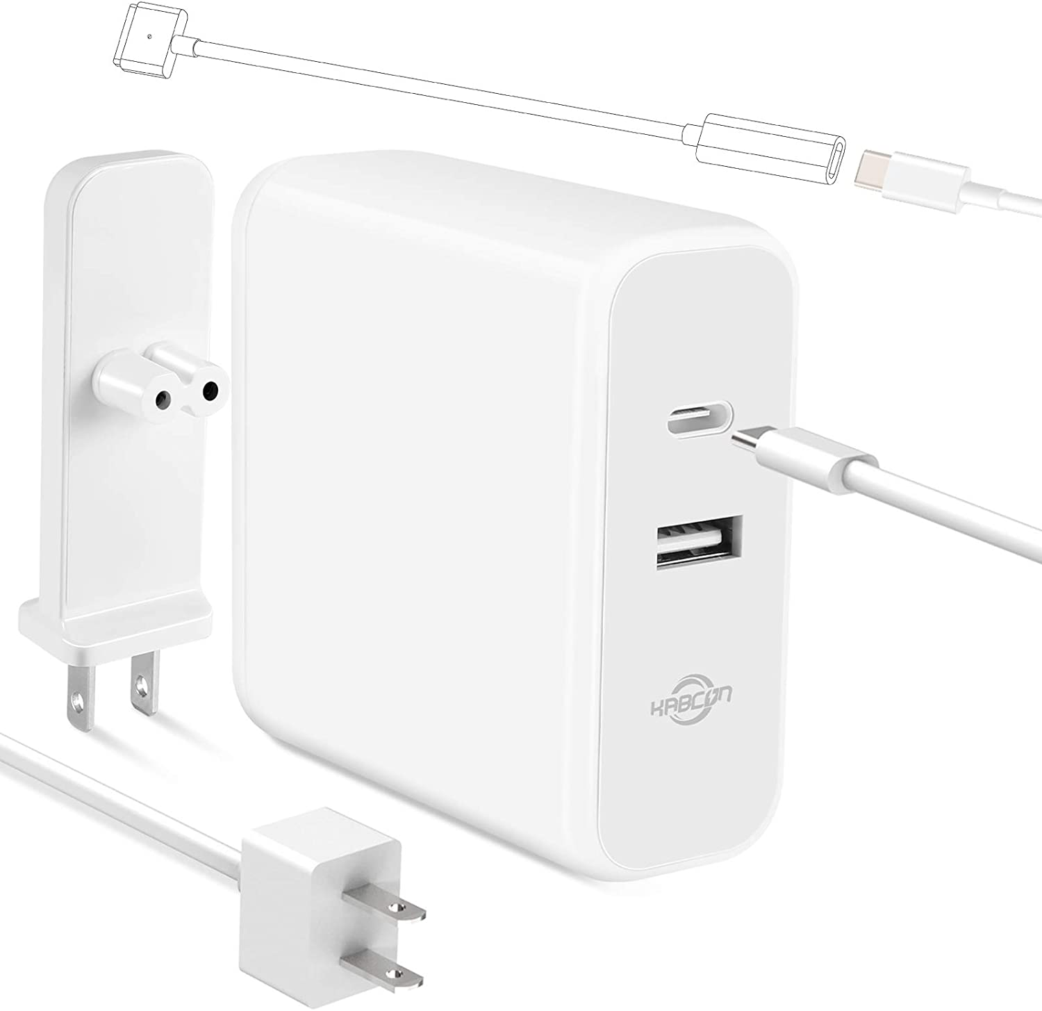 Mac Book Charger Mac Book Air Charger, Type C 60W Power Adapter Charger Compatible with Mac Book Air 2018 Mac Book Pro 2017/2018 and Mac Book Air Released After Mid 2012 Replace Magnetic 2 Connector