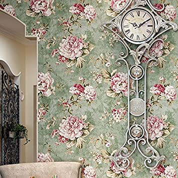 HaokHome DR3074 Non Woven Vintage Flower Wallpaper Blue Home Bedroom WallPaper 208quot