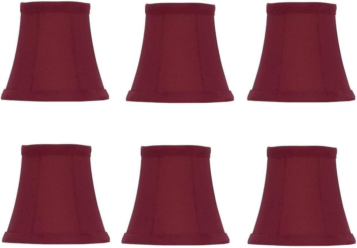 Upgradelights Set of Six 5 Inch Red Silk Barrel Chandelier Shade That Clips onto Flame Bulbs 2.5x5x4