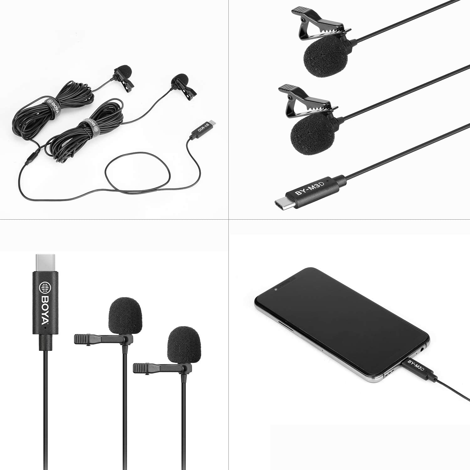 Amazon.com: BOYA BY-M3D Digital Dual-Head USB Type-C Lavalier Microphones  Compatible with iPad Pro, Mac PC, Samsung Android Devices: Musical  Instruments