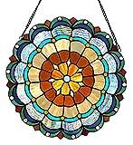 Chloe Lighting Minerva Tiffany-Glass Circus Tent 18'' Round Window Panel