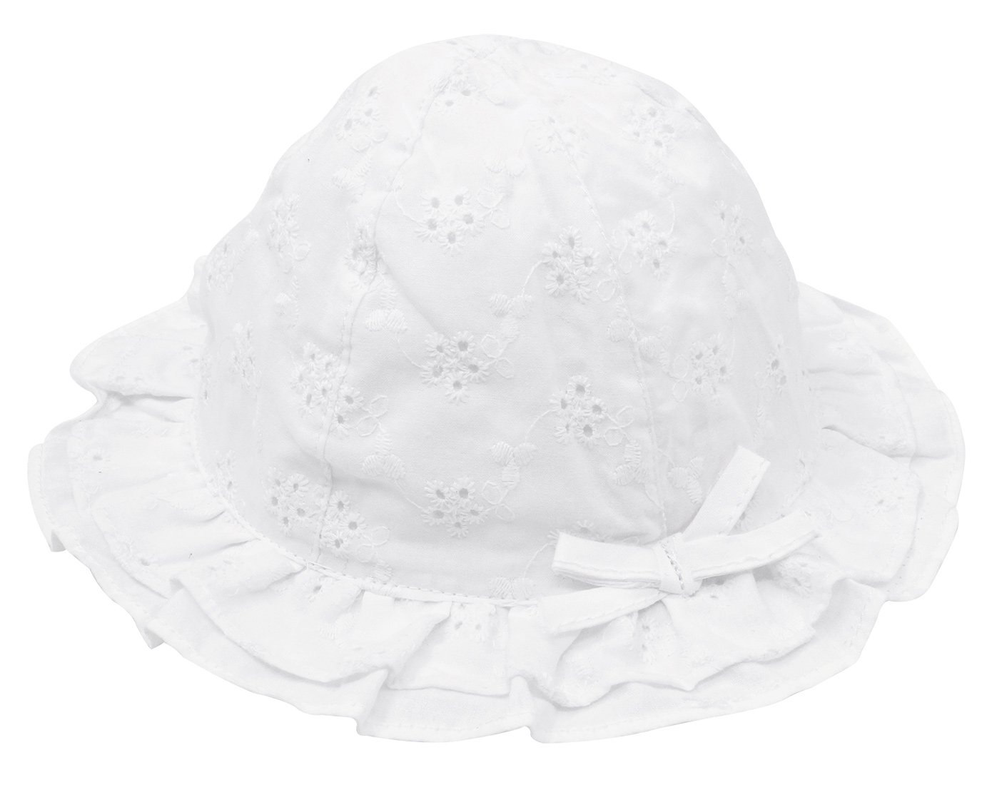 Happy Cherry Basic Sun Hat Kids Infants Toddlers Baby Girls Cute Floral Hollow Large Wide brimmed Cotton Sun Protection Toddler Hat For 3-6M White