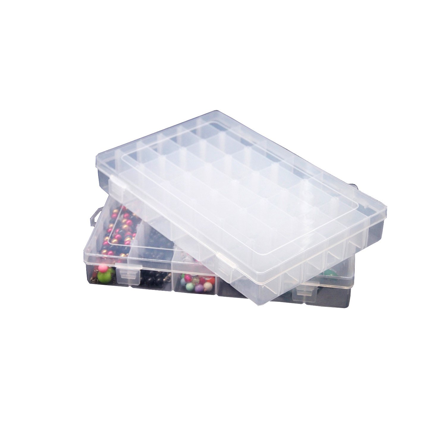 2Pcs Clear Plastic Jewelry Box Organizers 36 Grids with Adjustable Dividers for Beads Earrings Necklaces Rings Metal Parts Accessories Screws Button Storage Box Container Shine