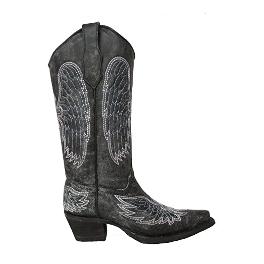 Women's Grey/Blue Wing and Cross Embroidered Leather Boots