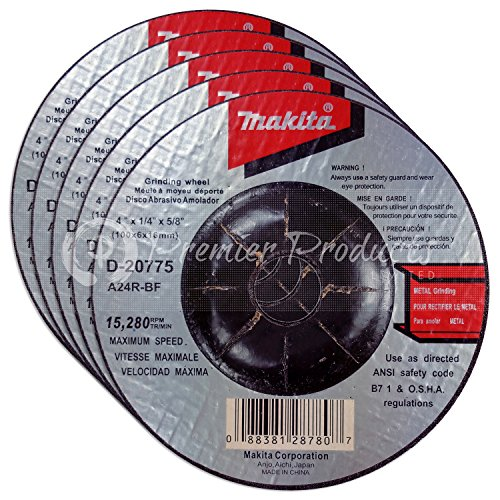 Makita 5 Pack - 4 Inch Grinding Wheel For Grinders - Aggressive Grinding For Metal - 4