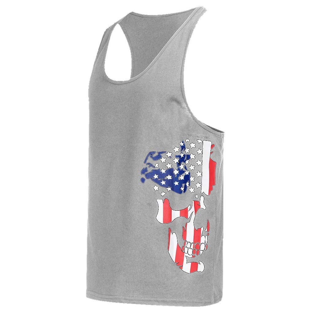 Men's Tank Top Shirt Sleeveless Independence Day Printing Sports for Gym Fitness Bodybuilding Running Jogging (XXL, Gray) by Yihaojia Men Blouse (Image #3)