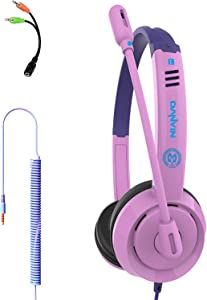 YOUPECK Kids Headphones for Children Boys Girls Teens Wired Foldable Lightweight Stereo On Ear Headset for iPad Cellphones Computer MP3/4 Kindle Airplane School (Purple)