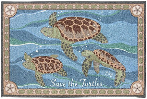 Area Rugs Kitchen Rugs Indoor Outdoor Claire Murray Washable Rugs 30x46'' Save the Turtles by Claire Murray