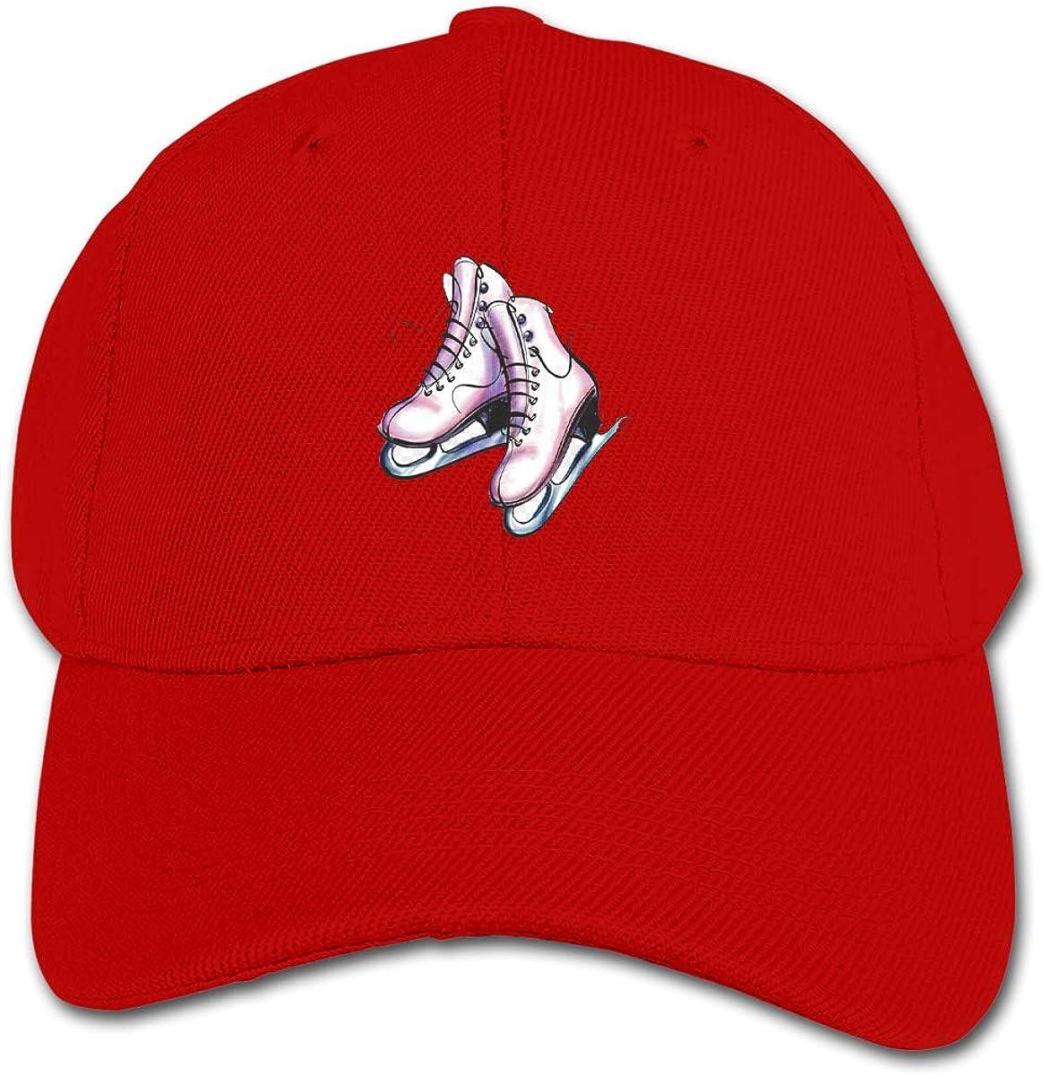 Cartoon Ice Skating Skates Kids Baseball Cap Hat Unisex Toddler Sun Hat Adsjutable Trucker Hat